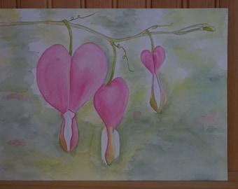 Bleeding Hearts Original Watercolor