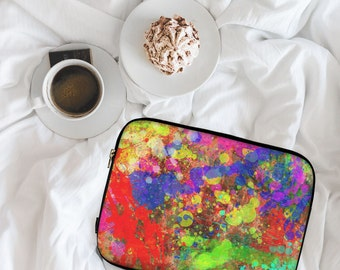 Watercolour Paint Splash, Colourful Ink Painting,  Neoprene Laptop Sleeve, MacBook Case, Laptop Case, Cover, Laptop Bag \ ls-pp096