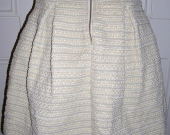 As new beige braid worked gold exposed back zipper full cupcake skirt by sheike size: medium
