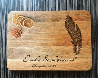 Personalized Cutting Board Feather, Engraved Cutting Board, Wooden Serving, Wedding Gift, Housewarming Gift, Anniversary Gift,Valentines Day