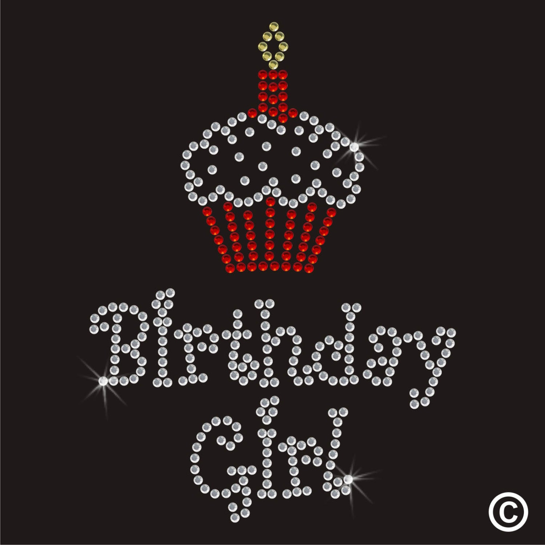 Birthday Girl Cupcake Iron On Rhinestone Transfer