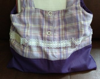 Purple plaid fabric lined tote bag