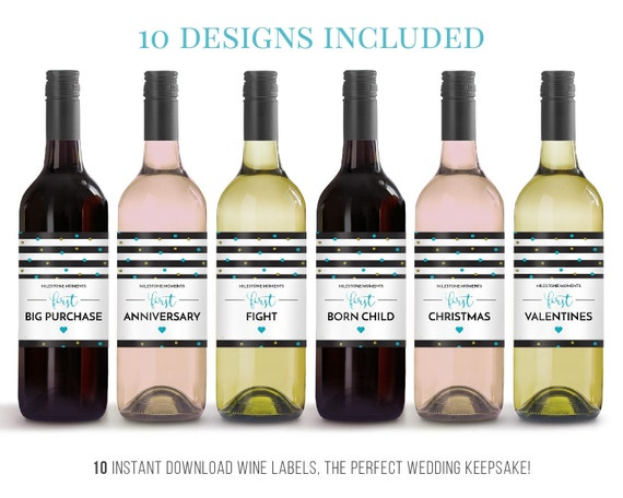 wine label milestone, Wedding Gifts, Wedding Present, gift bride and ...