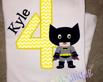 Batman applique and embroidery birthday shirt
