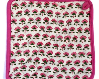 Indian wood-block printed Potholder. Adorable pink and green small flower motif with bright pink piping and a hook to hang.