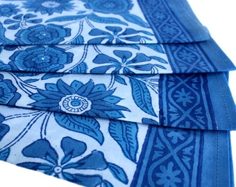 Wood-Block Printed Blue Sunflower Napkins sold in Sets