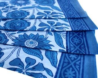 Wood-Block Printed Blue Sunflower Napkins