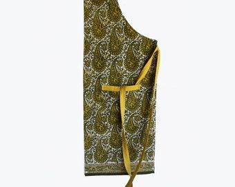 Wood-block printed Paisley adjustable aprons. Green and yellow