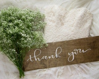 Thank You Wood Sign. Custom Wood Sign. Wood Wedding Sign. Thank You Wedding Sign. Wedding Photo Prop. Wedding Sign. Thank You Sign.