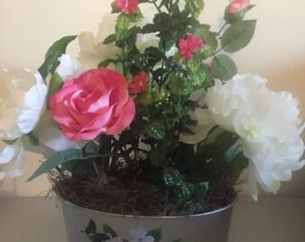 Silver flowered tin arrangement #241