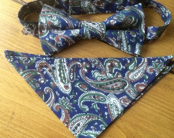 Mans bow tie and top pocket hanky set