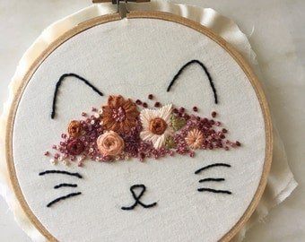 Cat embroidery hoop/ Embroidery art