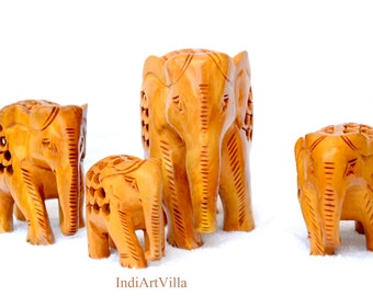 Handmade Wooden Crafted Elephant family of four