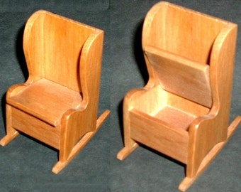 Miniature HANDMADE ROCKING CHAIR with Storage (Block House)