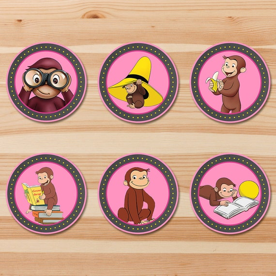 Curious George Birthday Cupcake Toppers - Pink Chalkboard - Girl Curious George Stickers - Curious George Party - Curious George Printables