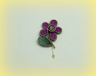 Handmade Felt Purple Flower Zipper Brooch