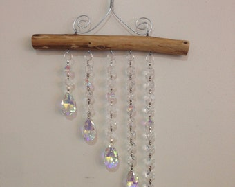 5 Strand Aurora Borealis (AB) and clear Crystal Waterfall Suncatcher