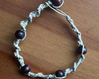 Woven Hemp Bracelet with Wooden Beads
