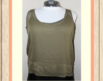 Olive Woven Tank with Slip