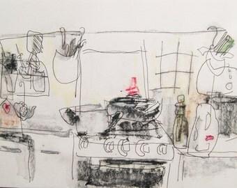 kitchen, art, drawing