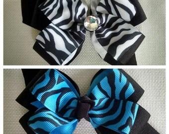 Zebra Hair Bows