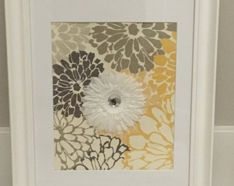Picture - White frame with fabric and flower, modern wall decor, yellow, framed fabric, unique wall decor, wall hanging, picture frame