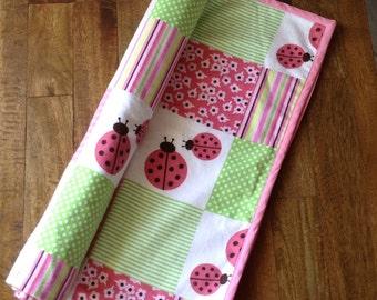 Modern baby blanket, receiving blanket, nursery blanket, girl blanket - SALE pink lady bug double sided blanket