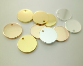 20pcs 10mm Dainty Small Gold, Silver & Rose Gold Minimal Round Discs Charms Pendants Tags for Personalized Stamping Layering 0102-0501-(123)