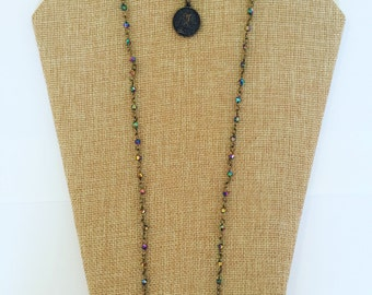 Metallic rosary necklace
