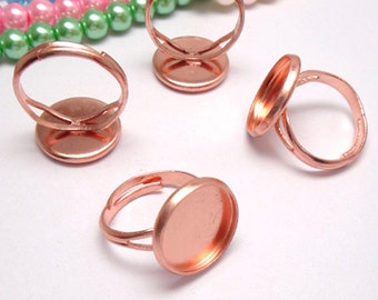 20pcs Rose Gold Ring Blanks  Ring Bezels Cabochon Settings Fits 12-20mm Cabochons