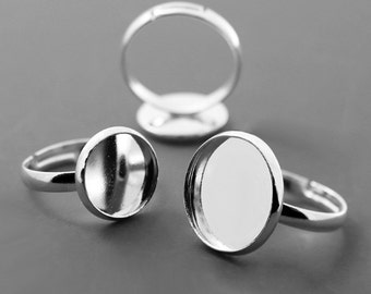 20pcs Silver Plated Ring Blanks  Ring Bezels Cabochon Settings Fits 10-20mm Cabochons