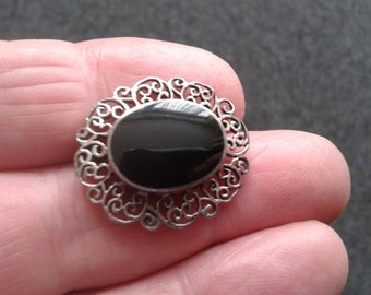 Vintage Sterling Silver Onyx BROOCH - PIN