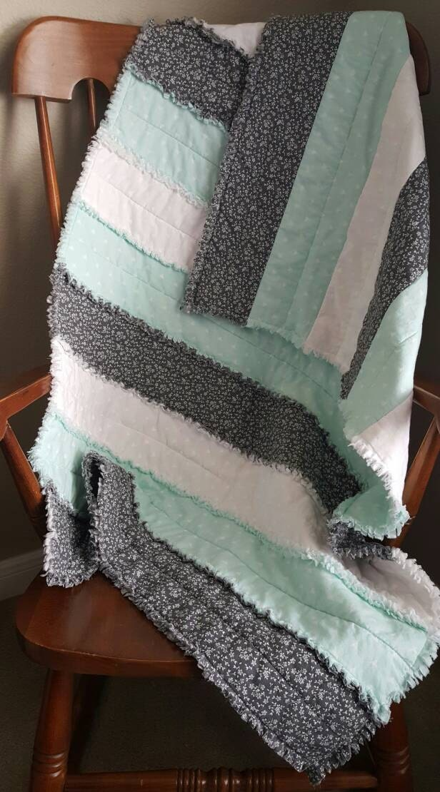 Mint Crib Quilt Mint Grey And White Rag Quilt By Darlinquilts