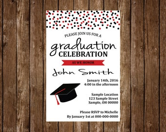 Graduation Party Invitation- Customize to your School Colors !