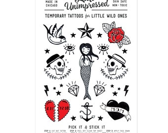 Temporary Tattoos for Kids of All Ages. Orignial Artwork, Traditional Tattoos, Illustration