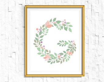 Instant Download Personalized Name Nursery Printable Monogram Art Print | Custom Nursery Printable Monogram Floral Letter G | FA-749 G-128P