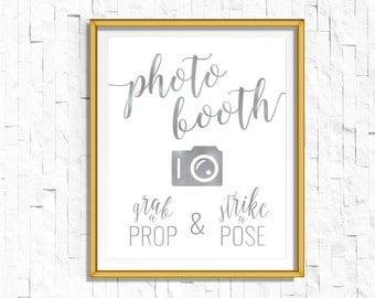 DIY PRINTABLE Silver Foil Photo booth Sign Grab a Prop Strike a Pose Instant Download Wedding Ceremony Reception Sign Calligraphy WSil1
