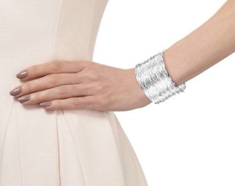 Silver Plated Wire Cuff Bracelet