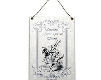 Handmade Alice in Wonderland White Rabbit Quote Sign 256