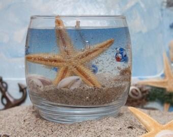 Aquarium Gel Candle with Seashells & Starfish