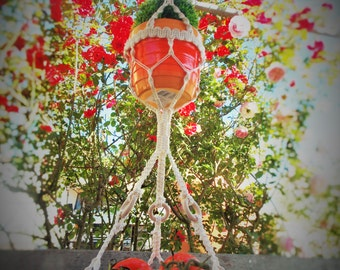 Macrame flower pot - ALL INCLUDED  (ORANGE)