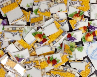PrettyEnglish vintage china handcut- broken plate mosaic tiles-120 pcs  yellow ID*542