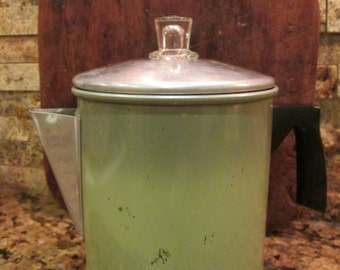 Vintage Chilton Ware Two-Toned Green Aluminum Coffee Pot Percolator
