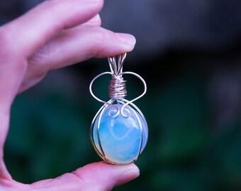 Opalite handmade Pendant in non-tarnish wire