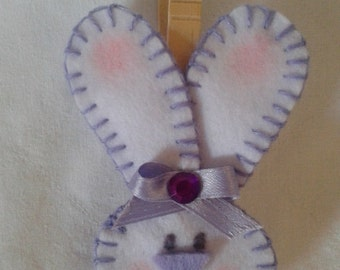 Felt Bunny paperweight with wooden clothespin