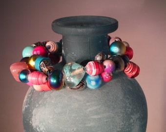 Glass and Paper Bead Multi-Strand Bracelet