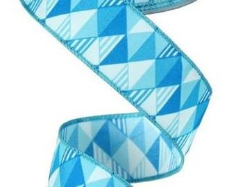 """1.5""""X10yd Triangles Blue Tones"""