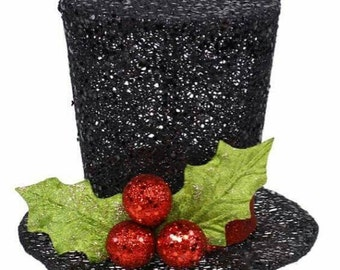 Black Glitter Top Hat, Holly Top Hat