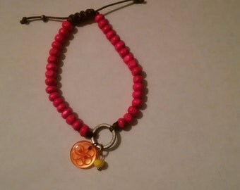 Neon Pink Charm Bracelet