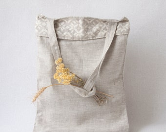 Bag of flax in the Ukrainian style/Linen tote bag/market bag/eco friendly bag